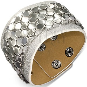 Kožený náramek - pás s kovovou ozdobou, motiv šupinek