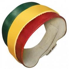 Kožený náramek - zeleno-žluto-červený pás, kovová přeska AB23.01