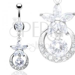 Luxusní piercing do bříška zirkonový květ, vykládaný kruh
