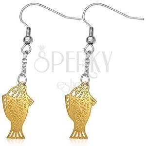 Visací ocelové náušnice - ploché zlaté rybky na řetízku