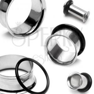 Piercing do ucha - tunnel z chirurgické oceli se zahnutým okrajem a gumičkou