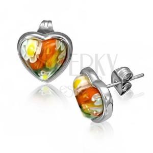 Srdcové náušnice z oceli - skleněné květované puzetky