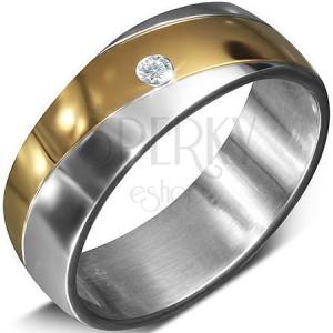 Hladký ocelový kroužek se zirkonem ve zlatém pásu