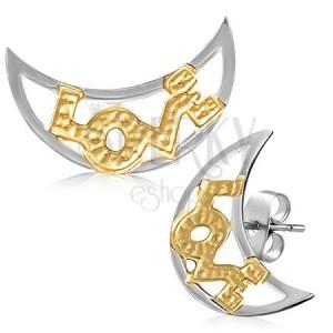 Dvoubarevné náušnice z oceli - půlměsíce s nápisem LOVE