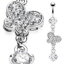 Luxusní piercing do pupíku zirkony vykládaný motýl