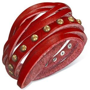Náramek z kůže - červený opasek okovaný polokoulemi