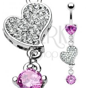 Luxusní piercing do pupíku zirkony vykládané srdce