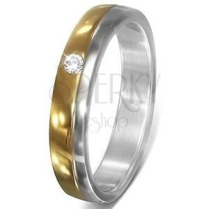Prsten z chirurgické oceli - kroužek, zirkon ve zlatém pásu