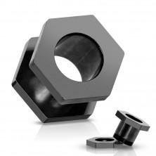 Tunel do ucha z titanu, anodizovaný, černý se šroubováním