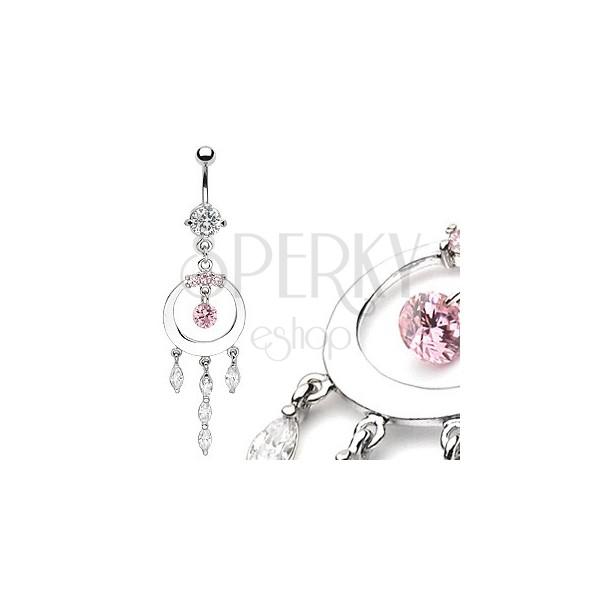 Luxusní piercing do bříška lesklý kruh se zirkony