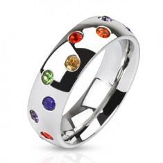 Ocelový prsten - stříbrný kroužek, barevné kamínky L4.01