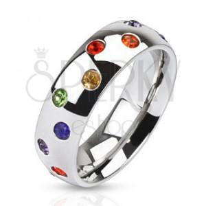 Ocelový prsten - stříbrný kroužek, barevné kamínky