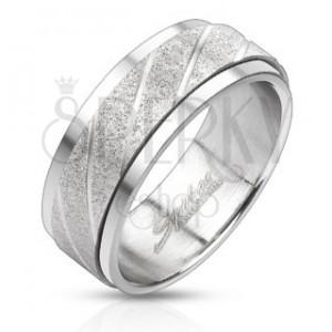 Ocelový prsten - pískovaný pás se šikmými rýhami