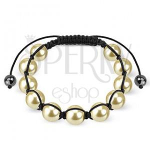 Kuličkový náramek - pískovo žluté perličky na černé šňůrce