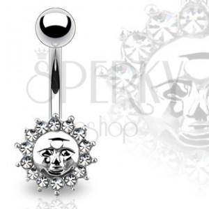 Piercing z oceli do pupíku - slunce s lidskou tváří, zirkony