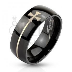 Prsten z oceli černé barvy s maltézským křížem