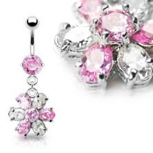 Luxusní piercing do bříška květ - růžový čirý zirkon