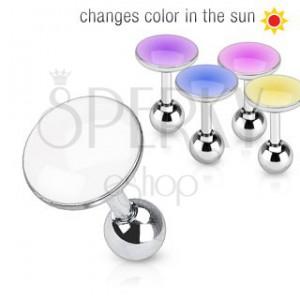 Piercing do ucha z oceli - kroužek měnící barvu na slunci