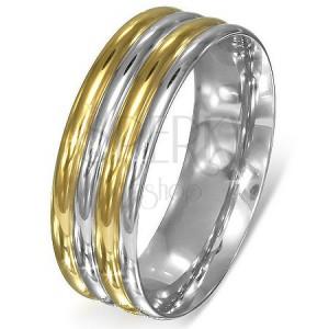 Prsten z oceli - stříbrno-zlaté zaoblené pásy