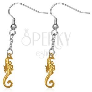 Visací ocelové náušnice - zdobený mořský koník zlaté barvy