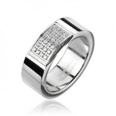 Ocelový prsten - obdélník vykládaný drobnými zirkony L4.09