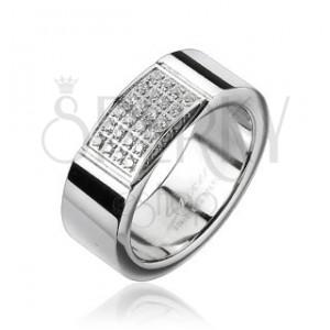 Ocelový prsten - obdélník vykládaný drobnými zirkony