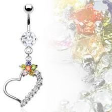 Luxusní piercing do břicha, srdce s barevným květem