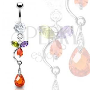 Luxusní piercing do břicha barevný květ a červená kapka