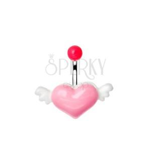 Ocelový piercing do pupku s růžovo-bílým létajícím srdcem
