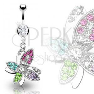 Luxusní piercing bříška krásný barevný květ vykládaný zirkony
