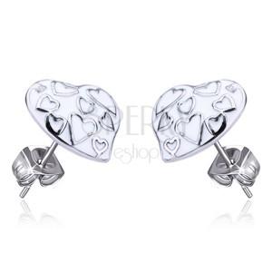 Ocelové náušnice - bílá glazurovaná srdce, puzetky