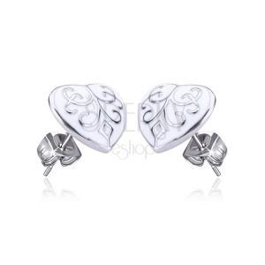 Ocelové náušnice - zdobené glazurované srdce, puzetky