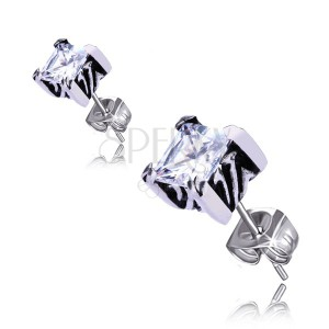 Ocelové náušnice - puzetky zdobené čtvercovým zirkonem