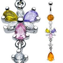 Luxusní piercing do bříška 6 lupínků květu a visící medový zirkon