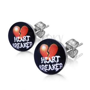 """Ocelové náušnice - rozpůlené srdce, nápis """"HEART BREAKER"""""""