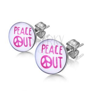"""Ocelové náušnice - nápis """"PEACE OUT"""" v kroužku"""