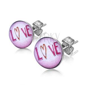 """Ocelové náušnice - nápis """"Love"""" v kolečku"""
