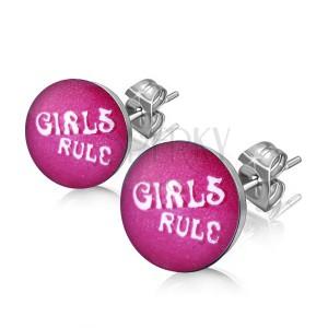 """Náušnice z oceli - nápis """"GIRLS RULE"""" v kolečku"""