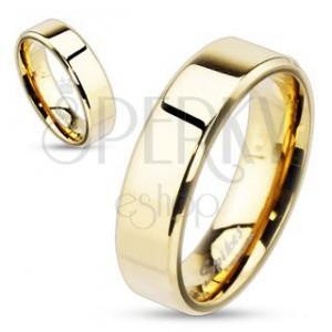 Ocelový prsten ve zlatém provedení s více zkosenými okraji, 6 mm