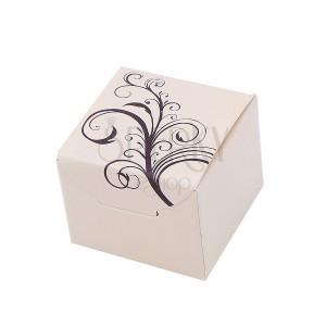 Béžová papírová krabička na šperk s přírodním motivem
