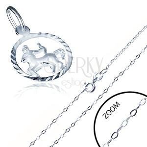 Stříbrný náhrdelník 925 - jemný řetízek a přívěsek znamení STŘELEC