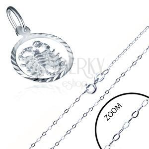 Lesklý stříbrný řetízek 925 s přívěskem znamení ŠTÍR