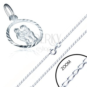 Stříbrný náhrdelník 925 - lesklý řetízek, znamení BLÍŽENCI v kruhu