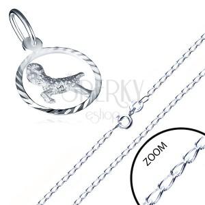 Lesklý řetízek a přívěsek ze stříbra 925 - hladká očka, znamení BERAN