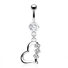 Titanový piercing do bříška - srdce se třemi kvítky