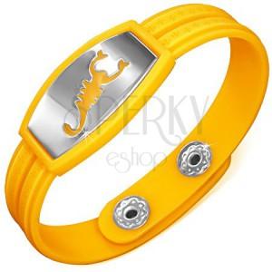 Náramek vyrobený z gumy - žluté provedení, řecký motiv, škorpion