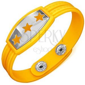 Žlutý gumový náramek - hvězdy na známce, řecký klíč
