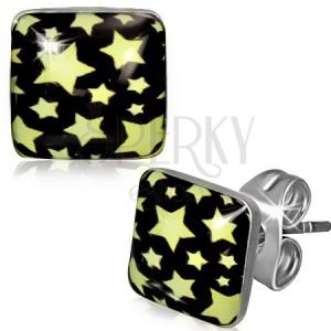 Puzetové náušnice z oceli - čtverec se žlutými hvězdami