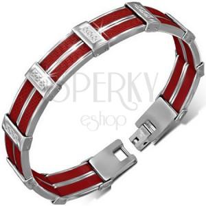 Ocelový náramek - červené gumové pásy, řecký motiv, kříže