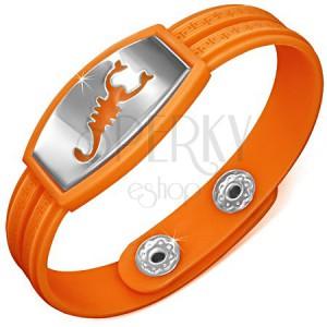 Náramek z gumy, hodinkový styl, známka se škorpionem